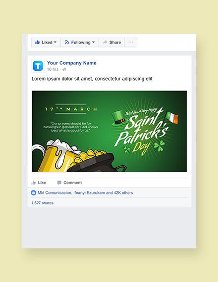 Saint Patrick's Day Facebook Post