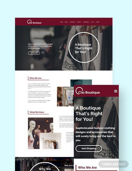 Boutique Landing Page WordPress Theme