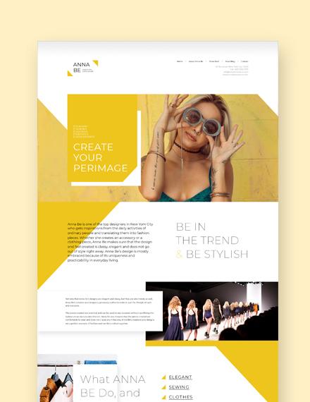 Sample Fashion Designer Landing Page WordPress Theme