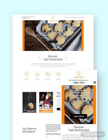 Bakery Landing Page WordPress Theme