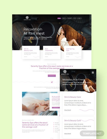 Spa Landing Page WordPress Theme