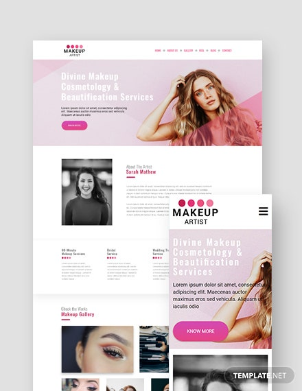 Makeup Artist Landing Page WordPress Theme