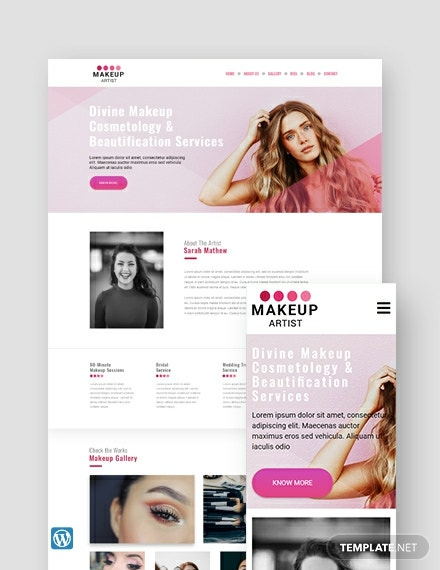 Makeup Artist WordPress Theme/Template