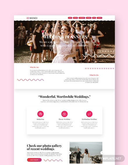 Sample Wedding Landing Page WordPress Theme