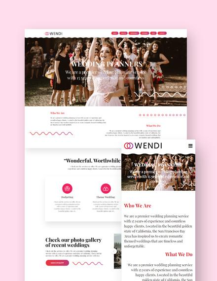Wedding Landing Page WordPress Theme