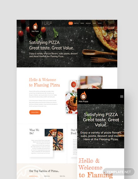 Pizza Landing Page WordPress Theme