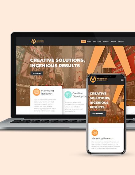 Advertising Agency Landing Page WordPress Theme Download