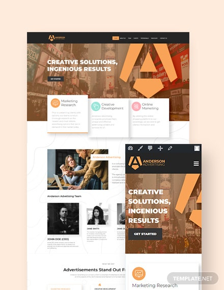 Advertising Agency Landing Page WordPress Theme