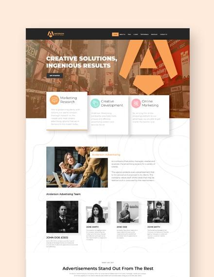 Sample Advertising Agency Landing Page WordPress Theme