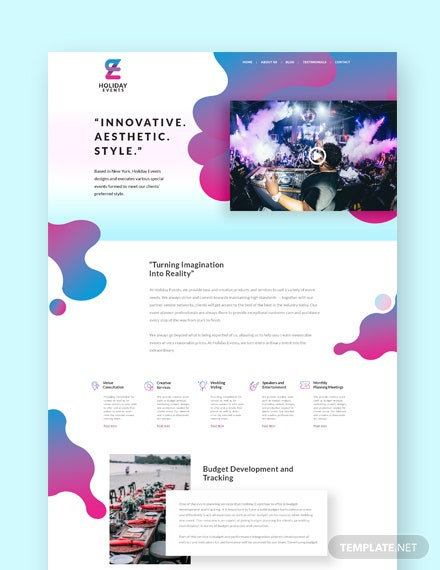 Event Planner Landing Page WordPress Theme