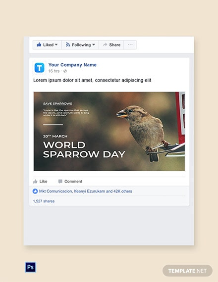 World Sparrow Day Facebook Post