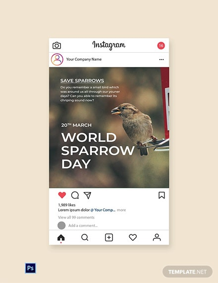 World Sparrow Day Instagram Post