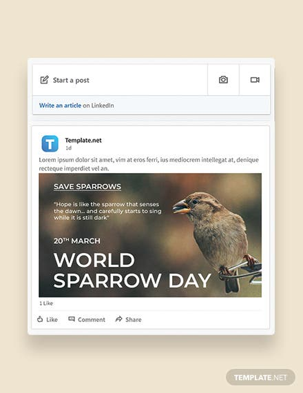 World Sparrow Day Linkedin Post