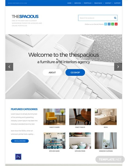 Free Interior Design Firm PSD Website Template