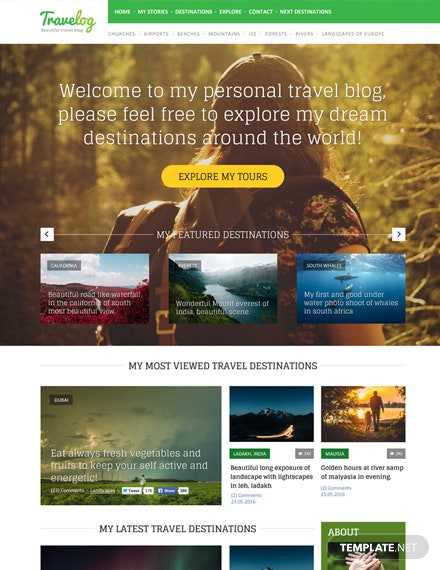 Free Traveler Blog PSD Website Template