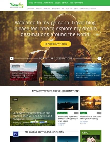 Free Traveler Blog PSD Website Template
