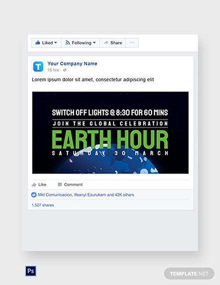 Earth Hour Facebook Post