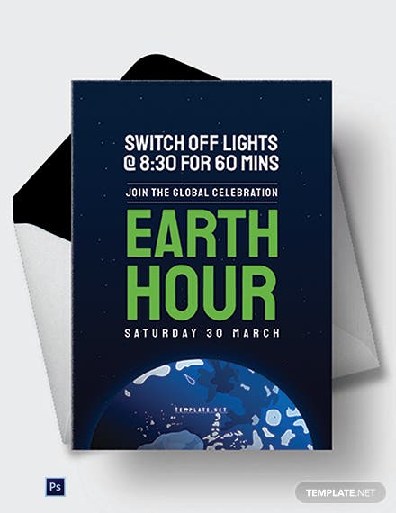 Free Earth Hour Greeting Card Template