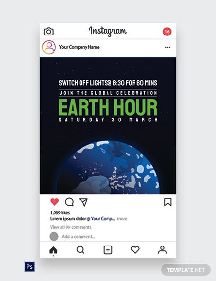Earth Hour Instagram Post