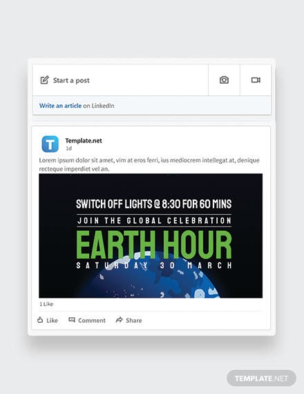 Earth Hour Linkedin Post