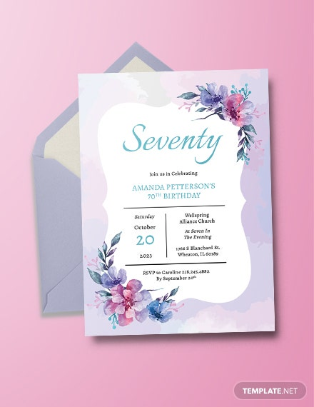 70th Birthday Invitation Template
