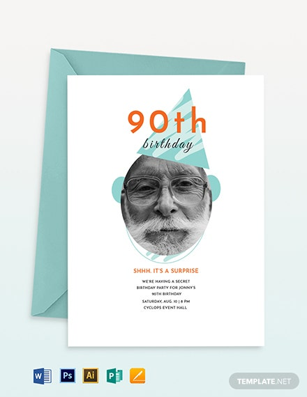 90th Birthday Invitation Template