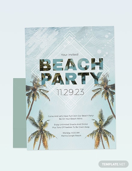 Beach Birthday Party Invitation Download