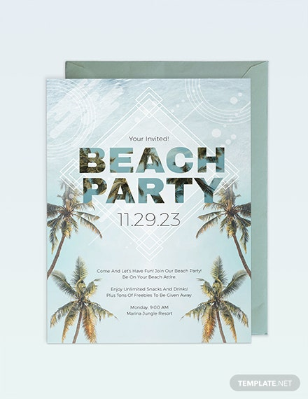 Beach Birthday Party Invitation Template