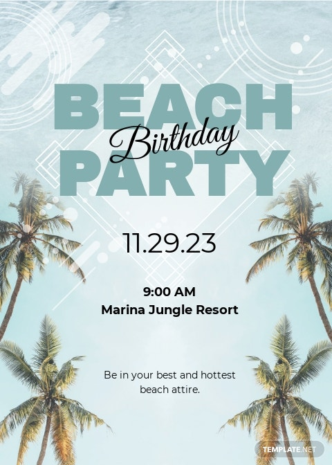 Beach Birthday Party Invitation Template.jpe