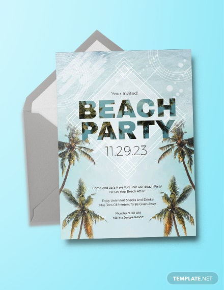 photograph relating to Beach Party Invitations Free Printable referred to as 12+ Seashore Occasion Invites - PSD, AI, Term, Internet pages Cost-free