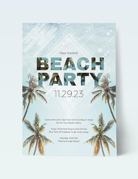 Sample Beach Birthday Party Invitation
