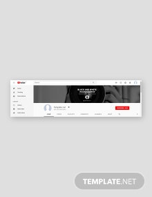 Free Black and White YouTube Channel Template