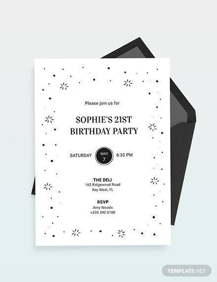 Black and White Birthday Party Invitation Download