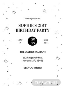 Black and White Birthday Party Invitation Template