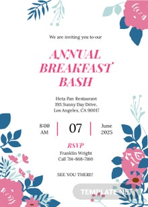 Breakfast Party Invitation Template