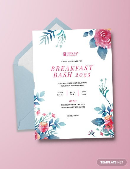 breakfast party invitation