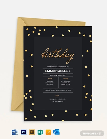 Confetti Birthday Invitation Template