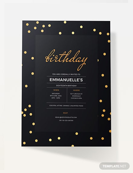 Sample confetti birthday invitation
