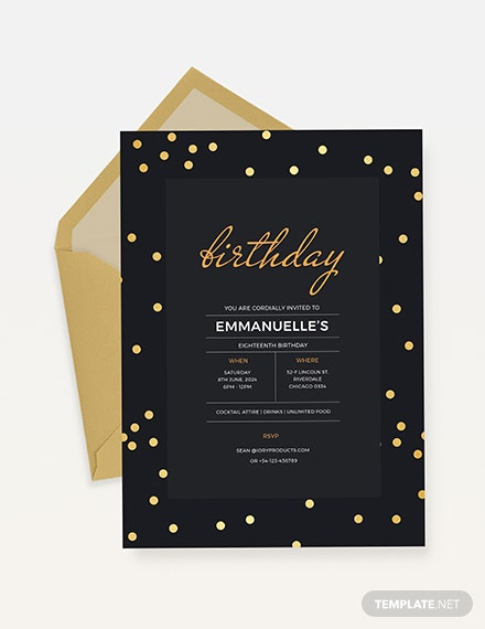 confetti birthday invitation Download