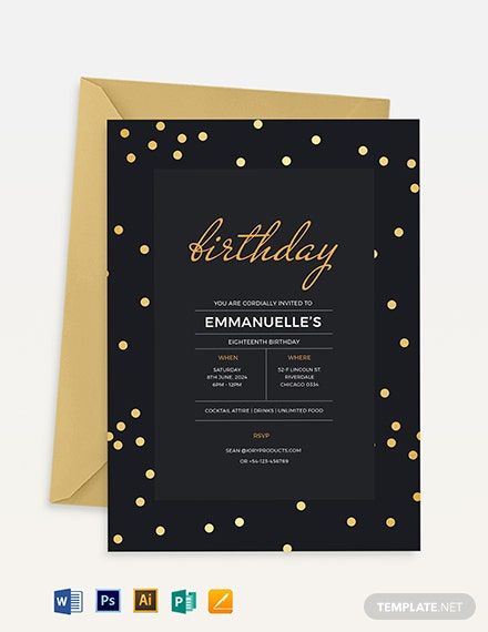 confetti birthday invitation template 1