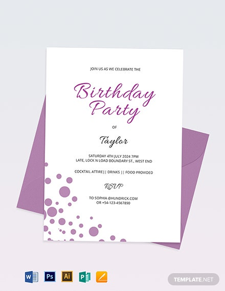 34 Birthday Invitation Format Templates Word Psd Ai