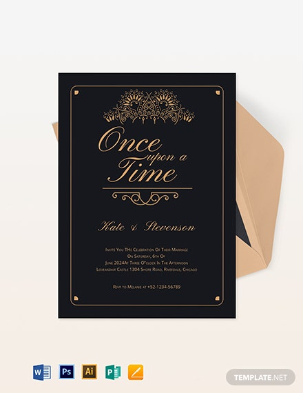 fairytale wedding invitation template 1