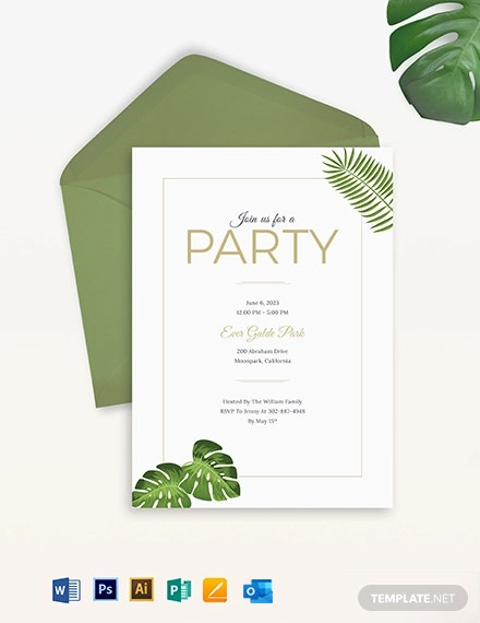 Garden Birthday Party Invitation Template