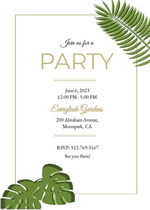 Garden Birthday Party Invitation Template
