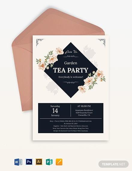 Garden Tea Party Invitation Template