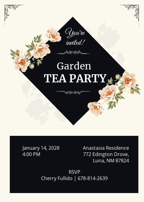 Garden Tea Party Invitation Template