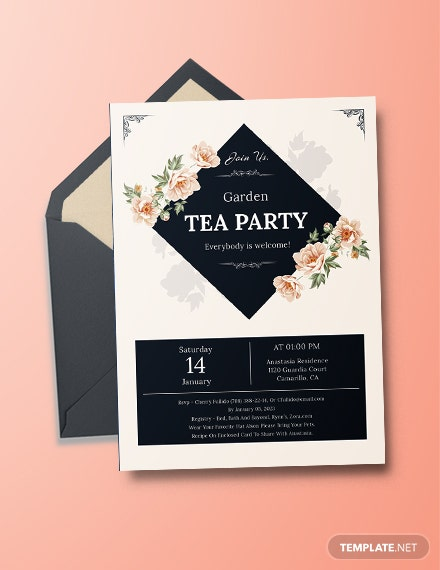 garden tea party invitation