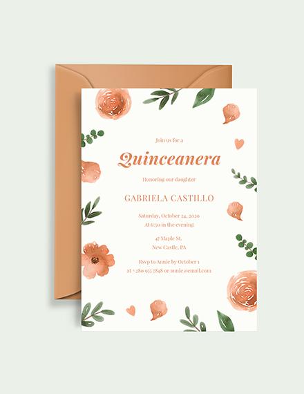 Sample elegant Quinceanera Invitation