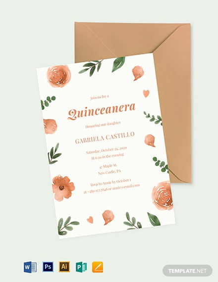 elegant quinceanera invitation template 1