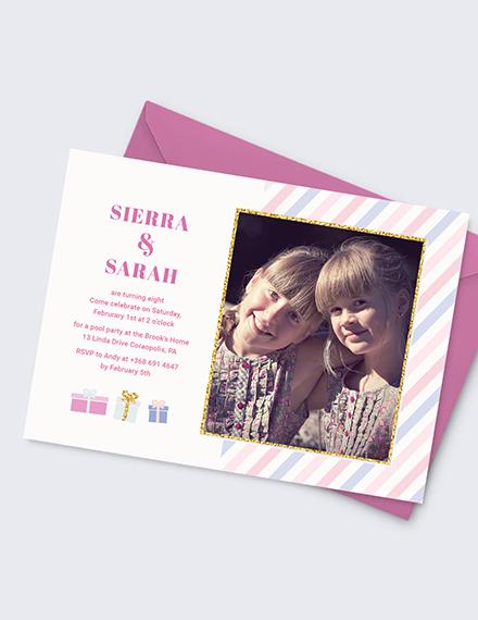 Sample Twin Birthday Invitation